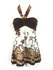 Bebe Halter Top Silk Blend ~ Satin Feel Small Brown Ivory Print Dressy Babydoll