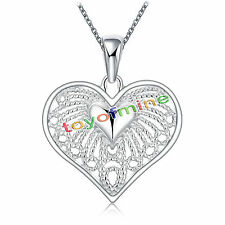 Ladies 925 Sterling Silver Xmas Gift Beautiful Love Heart Charm Pendant Necklace
