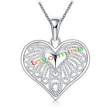 Plata esterlina 925 Alas de ángel corazón Colgante con Cadena Collar