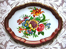 "LARGE ViNTaGe 17x13"" BARET WARE Decorative FLoWeRs & GOLD Tin Metal Serving Tray"