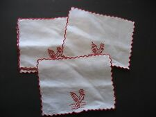 Vintage Madeira Embroidery Linen Cutwork Floral Napkins Set 5 ROOSTERS Barware