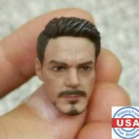 """US 1/12 Scale Tony Stark Iron Man Male Head Sculpt Model Fit 6"""" Figure Body Toy"""