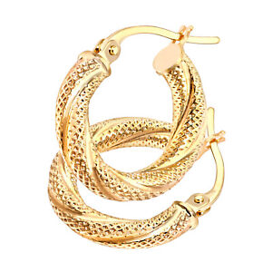 9ct Gold Ladies Glittery Hoop Earrings - Gift Boxed - Solid 9ct Gold