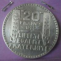 20 Francs Turin 1933 rameaux longs: TTB+ : pièce de monnaie Française ARGENT N12