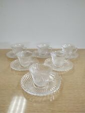 Federal Glass Diana Swirl Pattern Set Of 6 Demitasse Cups And Saucers