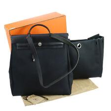 Authentic HERMES HERBAG MM 2 in 1 2way Hand Bag T.Officier Black GOOD NR10750