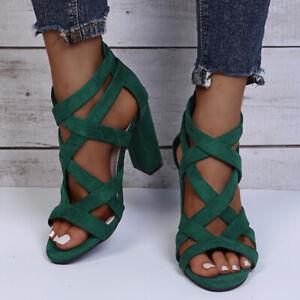 Womens Cross Strap Peep Toe Summer Block High Heels Sandals Chunky Back Zip Shoe