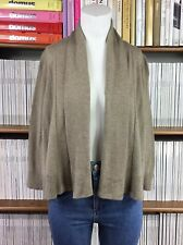 EILEEN FISHER cardigan organic cotton beige open front knit draped XS UK 8 US 4