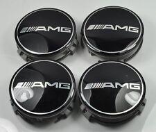 NEW 4X Mercedes AMG Black WHEEL RIM CENTER CAPS 75MM W221 W222 SL550 SL63 SL500