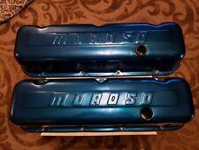 Vintage Moroso Big Block Chevy Blue Anodized Aluminum Valve Covers 396 427 454