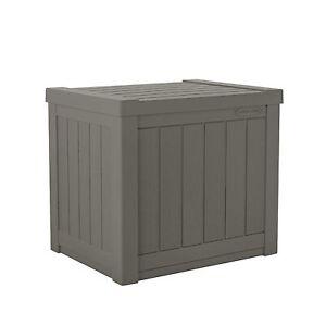 Suncast SS500ST 22 Gallon Small Resin Outdoor Patio Storage Deck Box, Stoney
