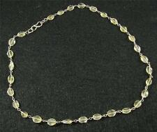"""Natural Pale Golden Citrine Petite Hand Faceted flat Oval Gemstone Necklace 17"""""""