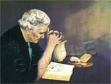 VINTAGE OLD WOMAN PRAYING REPRODUCTION CANVAS ART PRINT ~ GRATITUDE ~ RELIGIOUS