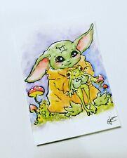 Aceo Baby Yoda Starwars Frog Pet Original Watercolor Painting
