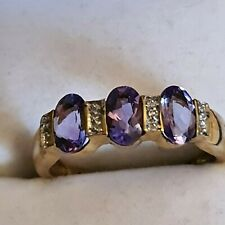 9ct Gold Amethyst and Diamond Half Hoop Ring