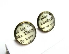 "Ohrstecker ""MR. DARCY & ELIZABETH"" ear studs letters words book Jane Austen Buch"