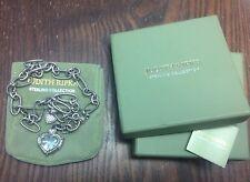Judith Ripka Sterling Silver Chunky Mint Green Quartz Heart Necklace 67.8 Grams
