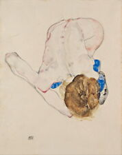 Egon Schiele Nude with Blue Stockings Giclee Canvas Print Paintings Poster