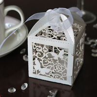 10/50/100pcs Wedding Party Favor Butterfly Paper Candy Gift Boxes With Ribbon BR