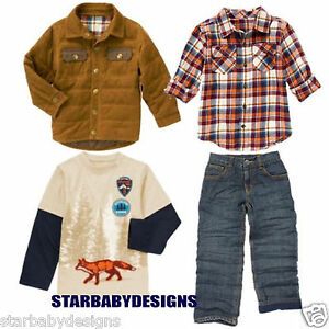 NWT 5-6 Gymboree FOX TRAIL Outfit  Top,Shirt,Jacket,Coat,Denim Jeans Adj Waist