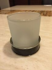 Mike And Ally Tumbler Bathroom Accessory NWT Frosted Glass Chestnut $70 MSRP