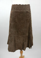 CAbi Womens Skirt Sz 8 Brown Leather Flaired Hemline Fully Lined Pierced Waist