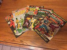 5 Vintage Comic Books Flash # 207, 219 Iron Man # 22 & Captain America #142, 149