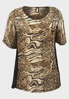 womens brown/black animal print plus size short sleeve casual top,blouse,T-shirt