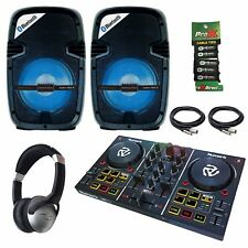 "Numark Party Mix DJ Controller + Party Box 8"" LED Active Speakers DJ Starter Kit"