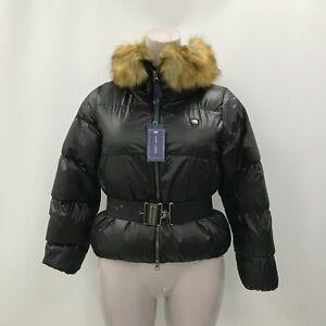 New Ralph Lauren Puffer Jacket Size Med Black Belted Faux Fur Hood Winter 423487