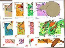 China Macau Macao 1996 to 2007 China New Year Rat to Pig S/S Full 12 Animals