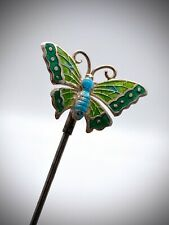 Antique Hatpin Charles Horner. Happy Greens & Turquoise Butterfly. Collectible