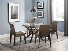Julian Bowen Chelsea Round Dining Table Glass & Walnut & 4 Kensington Chairs