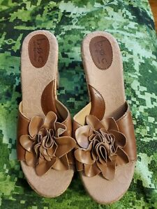 Born Concept b.o.c. Brown floral Leather Cork Wedge Sandals Size 10