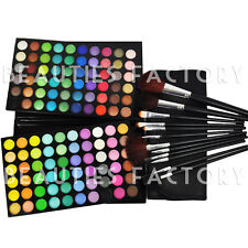 120 Color Paleta de sombras Artista favor + 12 PIEZAS NEGRO Brochas Kit Set #89b