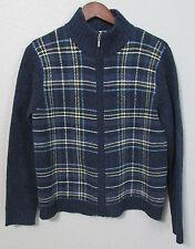 Eddie Bauer Blue Plaid Cardigan Sweater Womens Medium Zippered 100% Wool