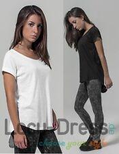 Damen Long Slub Shirt Gr.XS,S,M,L,XL langer Rückenteil in schwarz weiss BY036