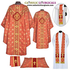 Clergy Embroidered Chasuble RED Gothic Vestment & Mass Set 5pc / Priest