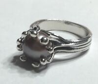 NWT OR PAZ STERLING SILVER 925 GREY GRAY PEARL  RING SZ 6 or 9 MADE IN ISRAEL