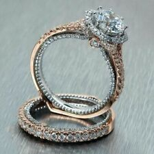 2.50 CT Round Cut Diamond 14k White And Rose 2 Tone Gold Engagement Ring Set