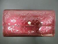 Auth Louis Vuitton Vernis Portefeuille Sarah M93524 Amarante Good 87872