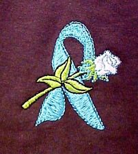 Teal Awareness Ribbon T Shirt S White Rose Brown Short Sleeve Ovarian Cancer New