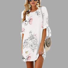 CA Womens Floral Long Tops Blouse Ladies Summer Beach Mini Tunic Dress Plus Size