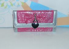 Claire's Faux Leather Flap Clutch Croc Wallet Pink & Silver NWT