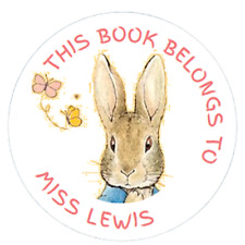 """48 x Personalised """"This Book Belongs To"""" Peter Rabbit  Stickers  40mm Labels"""