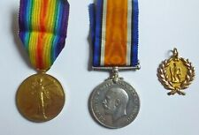 Australia WW1 9ct Gold Return fob, War Medal & Victory Medal  to Pte. W. Raymer