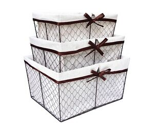 Chicken Wire Nesting Basket Set by Handcrafted 4 Home (Set of 3)