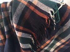 """Vintage HUGE Wool Blanket/Throw/Rug Plaid 80x60"""" plaid rust/black/green/ivory"""