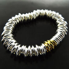 Bracelet Bangle Real 925 Sterling Silver S/F Gold Ladies Solid Ring Link Design