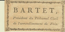 EX-LIBRIS BARTET (1756-1827), magistrat Foix - Saint-Paul-de-Jarrat (Ariège).
